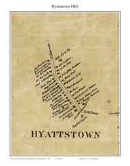 Hyattstown, Maryland 1865 Old Town Map Custom Print - Montgomery Co.