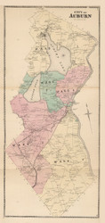 Auburn, Maine 1873 Old Town Map Print - Androscoggin Co.