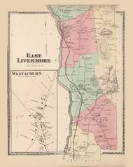 East Livermore West Auburn, Maine 1873 Old Town Map Print - Androscoggin Co.