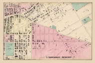Lewiston - Auburn Ward 1, Maine 1873 Old Town Map Print - Androscoggin Co.