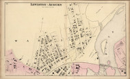 Lewiston - Auburn Ward 2, Maine 1873 Old Town Map Print - Androscoggin Co.