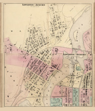 Lewiston - Auburn Ward 3-4, Maine 1873 Old Town Map Print - Androscoggin Co.