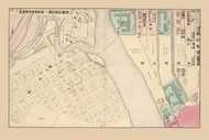 Lewiston - Auburn Ward 4, Maine 1873 Old Town Map Print - Androscoggin Co.