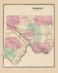 Lisbon, Maine 1873 Old Town Map Print - Androscoggin Co.