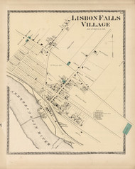 Lisbon Falls Village, Maine 1873 Old Town Map Print - Androscoggin Co.