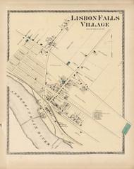 Lisbon Falls Village, Maine 1873 Old Town Map Print - Androscoggin Co.
