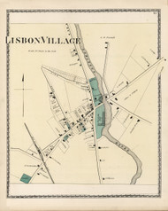 Lisbon Village, Maine 1873 Old Town Map Print - Androscoggin Co.