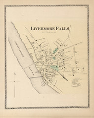 Livermore Falls, Maine 1873 Old Town Map Print - Androscoggin Co.