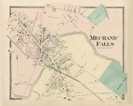 Mechanic Falls, Maine 1873 Old Town Map Print - Androscoggin Co.