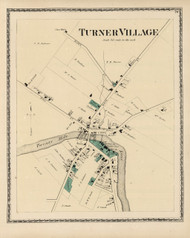 Turner Village, Maine 1873 Old Town Map Print - Androscoggin Co.
