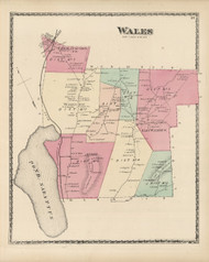 Wales, Maine 1873 Old Town Map Print - Androscoggin Co.