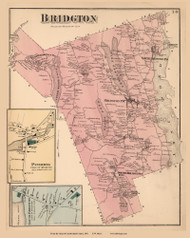 Bridgton Town, South Bridgton and Pinhook Villages, Maine 1871 Old Town Map Reprint Cumberland Co.