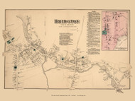 Bridgton and North Bridgton Villages, Maine 1871 Old Town Map Reprint Cumberland Co.