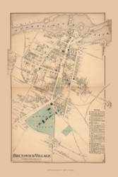 Brunswick Village, Maine 1871 Old Town Map Reprint Cumberland Co.