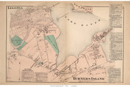 Ligonia and Turners Island Villages - Cape Elizabeth, Maine 1871 Old Town Map Reprint Cumberland Co.