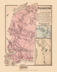 Falmouth Town, Falmouth Corners and West Falmouth Villages, Maine 1871 Old Town Map Reprint Cumberland Co.