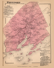 Freeport, Maine 1871 Old Town Map Reprint Cumberland Co.