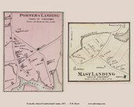 Porters Landing and Mast Landing Villages - Freeport, Maine 1871 Old Town Map Reprint Cumberland Co.