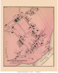 South Freeport Village - Freeport, Maine 1871 Old Town Map Reprint Cumberland Co.