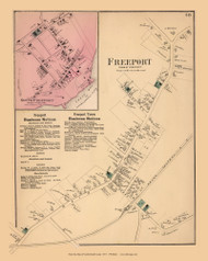 Freeport and South Freeport Villages, Maine 1871 Old Town Map Reprint Cumberland Co.