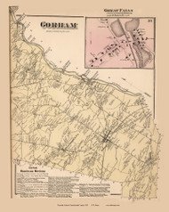Gorham Town and Great Falls Village, Maine 1871 Old Town Map Reprint Cumberland Co.