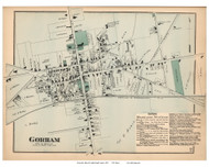 Gorham Village, Maine 1871 Old Town Map Reprint Cumberland Co.