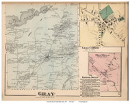 Gray Town, Gray Corner and Dry Mills Villages, Maine 1871 Old Town Map Reprint Cumberland Co.