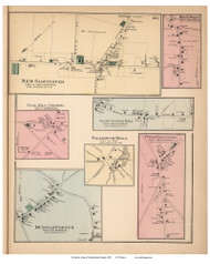 New Gloucester, Blue Point, Gloucester Hill, Coal Kiln Corners, Upper Gloucester, Falmouth Mills, and Dunstan Corners Villages, Maine 1871 Old Town Map Reprint Cumberland Co.