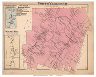 North Yarmouth Town, Crocketts Corner and Walnut Hill Villages, Maine 1871 Old Town Map Reprint Cumberland Co.