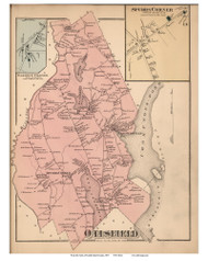 Otisfield Town, Spurs Corner and Baldwin Corner Villages, Maine 1871 Old Town Map Reprint Cumberland Co.
