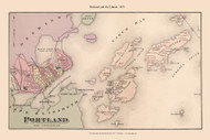 Portland and the Islands - Custom, Maine 1871 Old Town Map Reprint Cumberland Co.