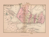 Portland and Vicinity, Maine 1871 Old Town Map Reprint Cumberland Co.