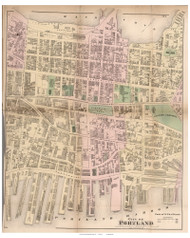 City of Portland - parts of 2nd, 3rd, and 4th Wards, Maine 1871 Old Town Map Reprint Cumberland Co.