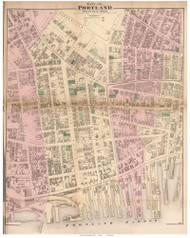 City of Portland - parts of 5th, 6th, and 7th Wards, Maine 1871 Old Town Map Reprint Cumberland Co.
