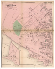 City of Portland - part of 7th Ward, Maine 1871 Old Town Map Reprint Cumberland Co.