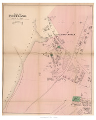 City of Portland - part of 7th Ward - Libbys Corner, Maine 1871 Old Town Map Reprint Cumberland Co.