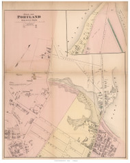 City of Portland - parts of 6th and 7th Wards, Maine 1871 Old Town Map Reprint Cumberland Co.