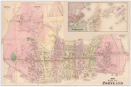 City of Portland - Downtown A-E Custom Composite, Maine 1871 Old Town Map Reprint Cumberland Co.
