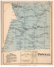 Pownal Town and North Pownal Village, Maine 1871 Old Town Map Reprint Cumberland Co.