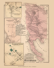 Raymond Town, Raymond, South Standish, and Standish Corner Villages, Maine 1871 Old Town Map Reprint Cumberland Co.