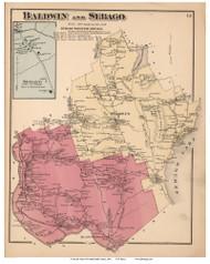 Baldwin and Sebago Towns, Sebago Village, Maine 1871 Old Town Map Reprint Cumberland Co.