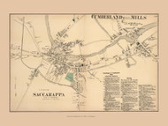 Saccarappa and Cumberland Mills Villages - Westbrook, Maine 1871 Old Town Map Reprint Cumberland Co.