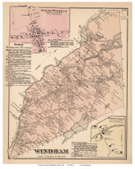 Windham Town, Popeville and North Windham Villages, Maine 1871 Old Town Map Reprint Cumberland Co.