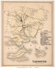 Yarmouth, Maine 1871 Old Town Map Reprint Cumberland Co.