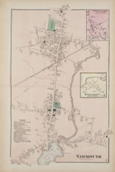 Yarmouth Village and Freeport Villages, Maine 1871 Old Town Map Reprint Cumberland Co.