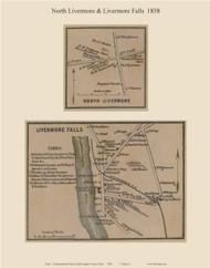 North Livermore & Livermore Falls, Maine 1858 Old Town Map Custom Print - Androscoggin Co.