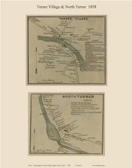 Turner Village & North Turner, Maine 1858 Old Town Map Custom Print - Androscoggin Co.