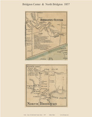 Bridgton Center & North Bridgton, Maine 1857 Old Town Map Custom Print - Cumberland Co.