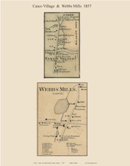 Casco Village & Webbs Mills, Maine 1857 Old Town Map Custom Print - Cumberland Co.