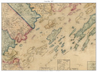 Casco Bay, Maine 1857 Old Town Map Custom Print - Cumberland Co.